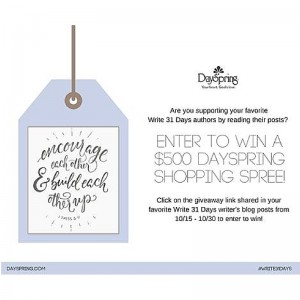 DaySpring.com is celebrating all of the amazing Write 31 Days readers who are supporting nearly 2,000 writers this October! To enter to win a $500 DaySpring shopping spree, just click on this link & follow the giveaway widget instructions. Good luck, and thanks for reading!