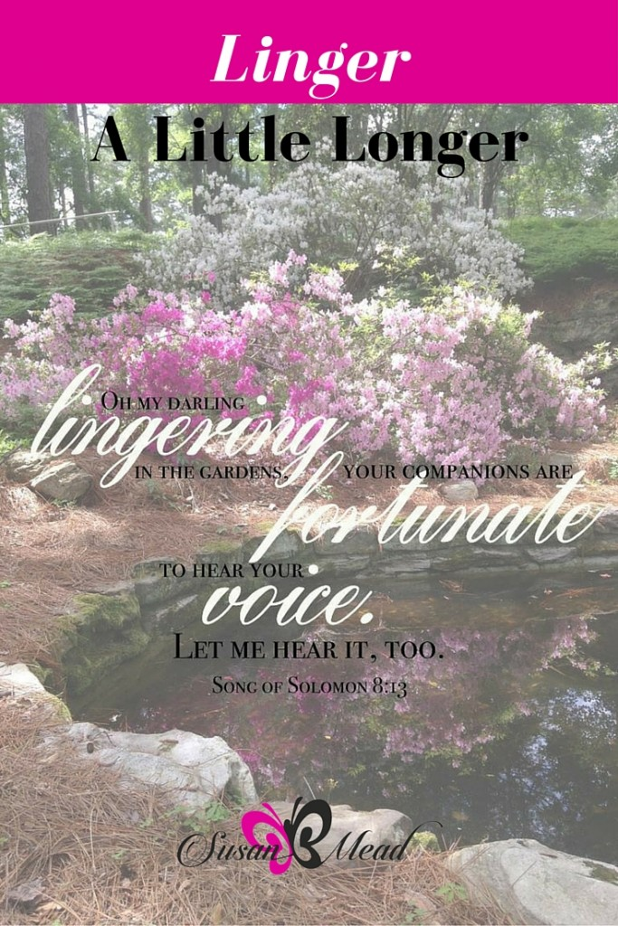 God invites you linger in the garden with Him. He wants to hear your voice. So linger a little longer in His Holy Presence. Song of Solomon 8:13
