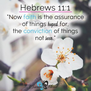Now faith is the assurance of things hoped for, the conviction of things not seen. Hebrews 11.1