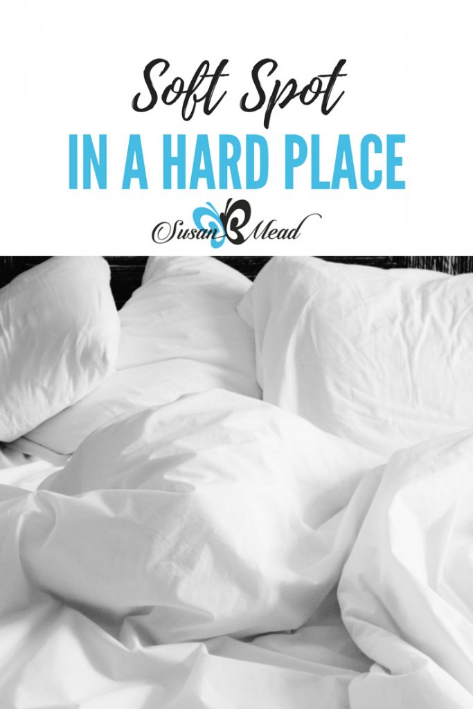 """I'll be birthing """"A Soft Spot in a Hard Place"""" to get pillows - a soft spot - into UN Refugee Camps - hard spots - around the world. Pray God leads..."""